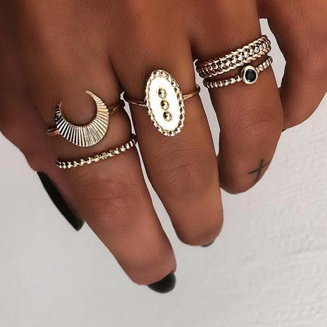 Creative vintage fine grain seal moon inlaid black diamond ring set 5 pieces NHPJ152919's discount tags