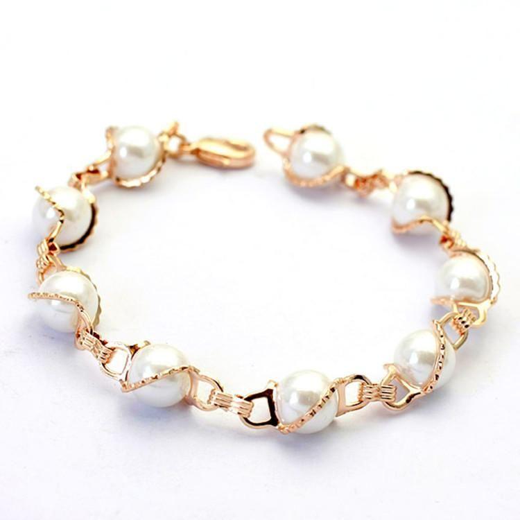 European and American fashion high-end imitation pearl alloy bracelet NHLJ152938