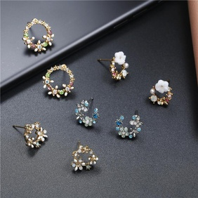 Korean sweet color garland ring stud earrings NHPF152978