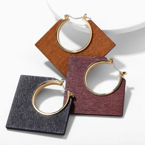 Creative Vintage Classic Brown Log Geometric Earrings NHPJ152986's discount tags