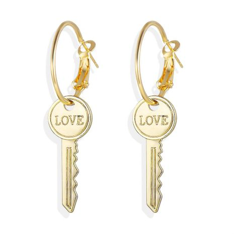 Creative English alphabet love key earrings NHPJ152988's discount tags