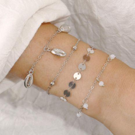 Creative simple round metal shell anklet set 4 piece set NHPJ152989's discount tags