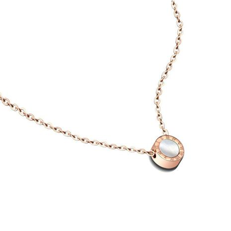 Titanium steel rose gold Roman black and white shell clavicle necklace NHOK152991's discount tags