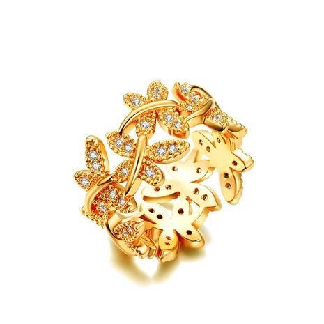 Fashion flowers with gold-plated micro-inlaid AAA zircon ring NHLJ152993's discount tags
