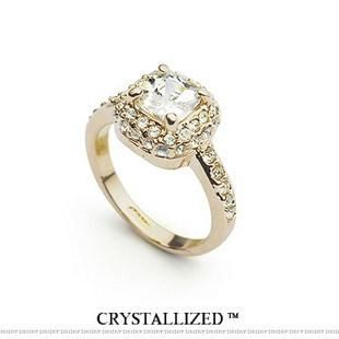 Korean version of the artificial gemstone super flash square zircon alloy ring NHLJ153000's discount tags