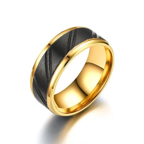 Fashion gold slotted black alloy ring NHTP153001's discount tags