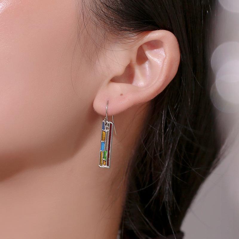 Long geometric colored metal earrings NHDP153018
