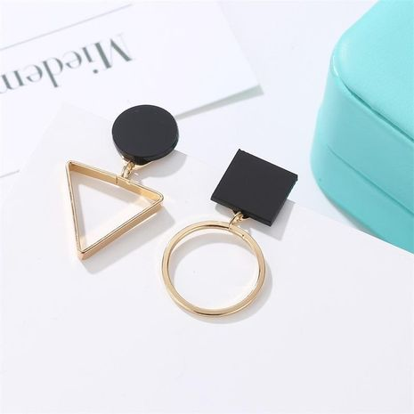 Fashion asymmetric triangle round alloy earrings NHDP153022's discount tags