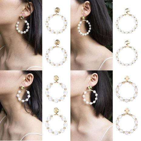 Vintage Baroque Shaped Pearl Ring Stud Earrings NHXR153029's discount tags