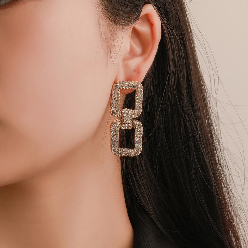 Fashion square full diamond earrings NHDP153031