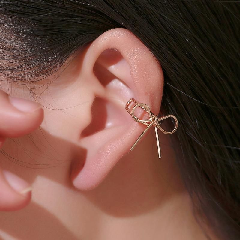 Copper ear cuff bow clip earrings NHDP153038