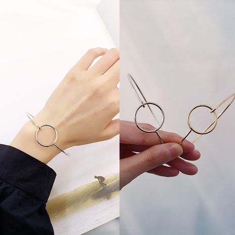 Fashion hollow round alloy open bracelet NHDP153041's discount tags