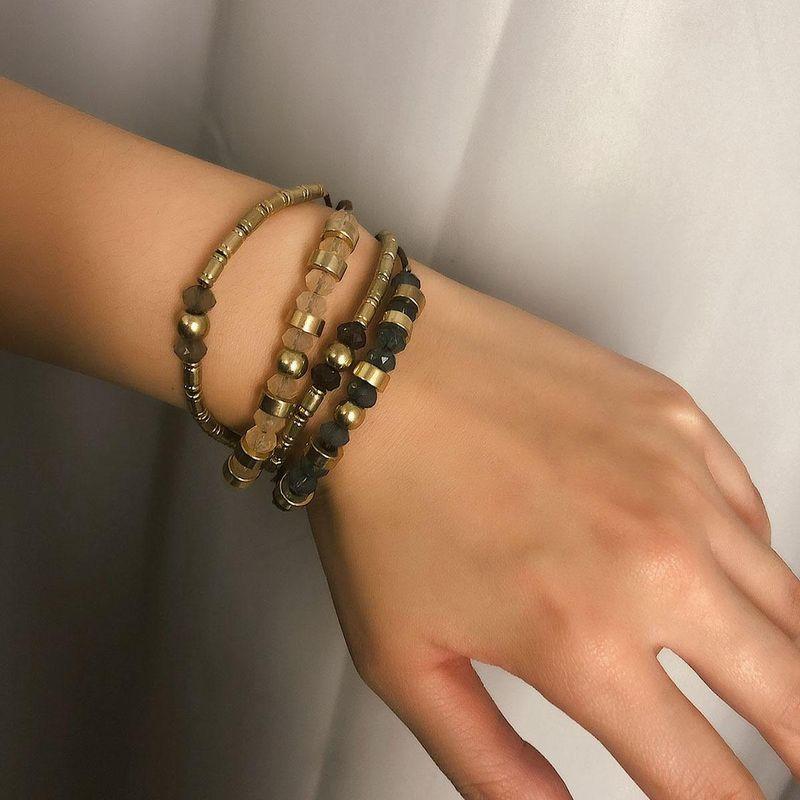 Multi-layer retro adjustable geometric metal bracelet NHXR153044