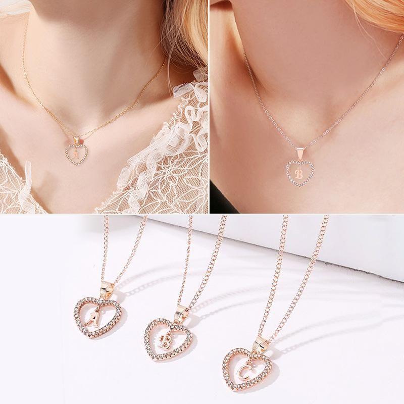 Rose gold and diamonds 26 English alphabet necklace NHDP153048
