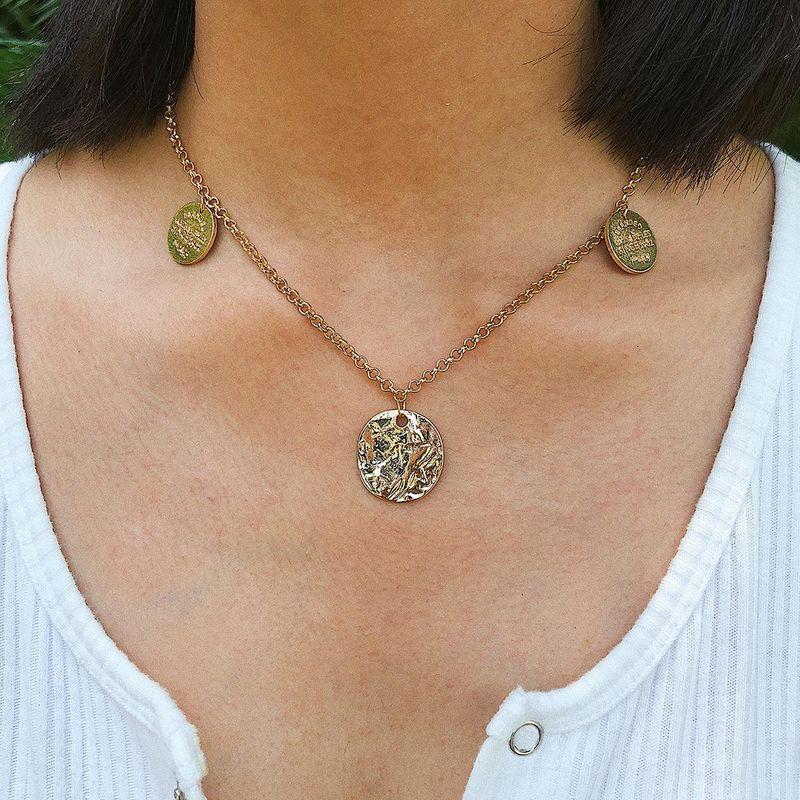 Irregular embossed irregular geometric round necklace NHXR153050