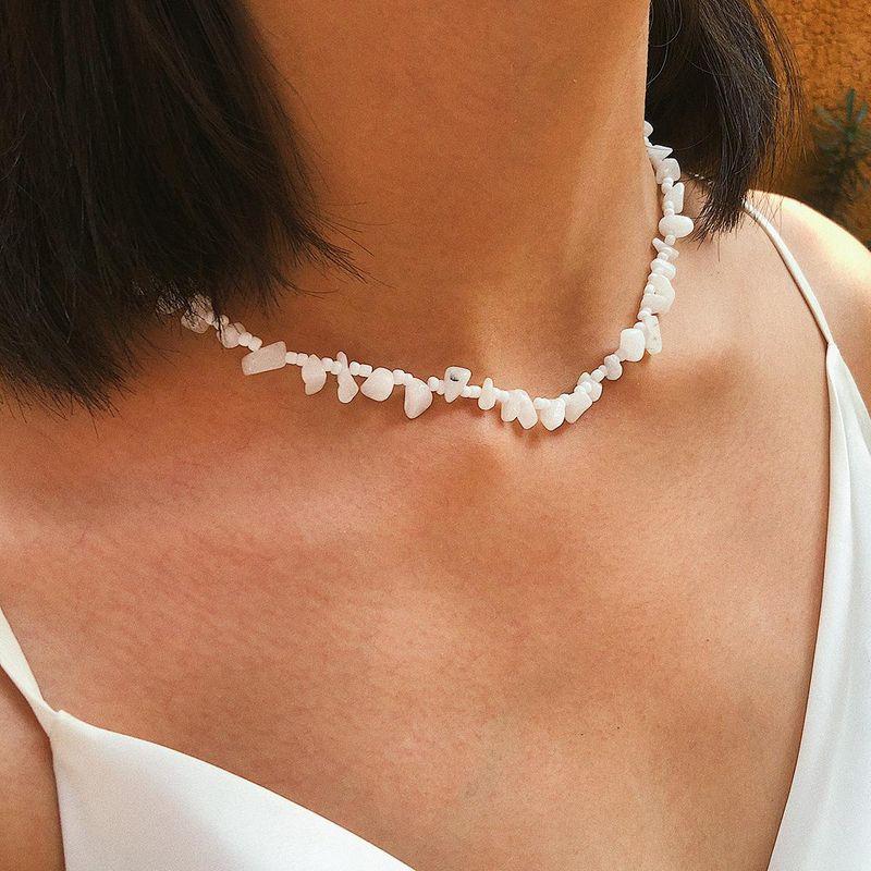 Simple original stone rice beads retro portrait necklace NHXR153052