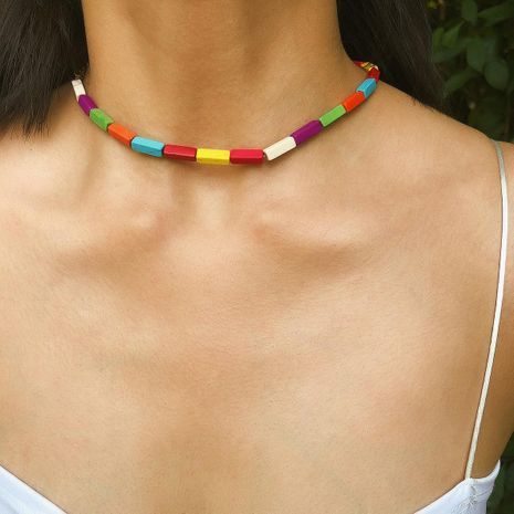 Fashion strip colored turquoise choker NHXR153054's discount tags