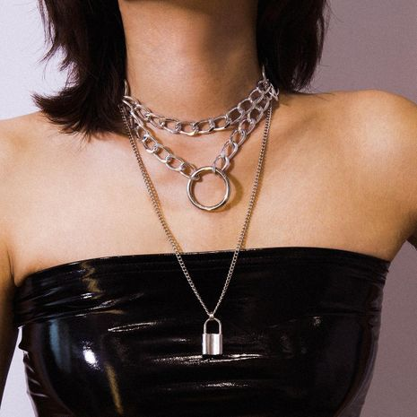 Multi-layer chain geometric lock necklace NHXR153056's discount tags