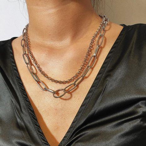 Simple chain multi-layer geometric necklace NHXR153060's discount tags