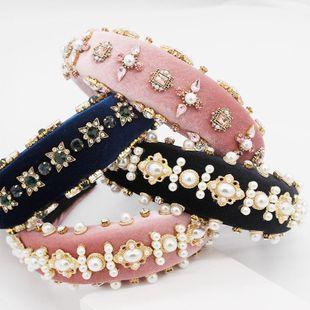 Foam pearl geometric rhinestone headband NHWJ153072's discount tags