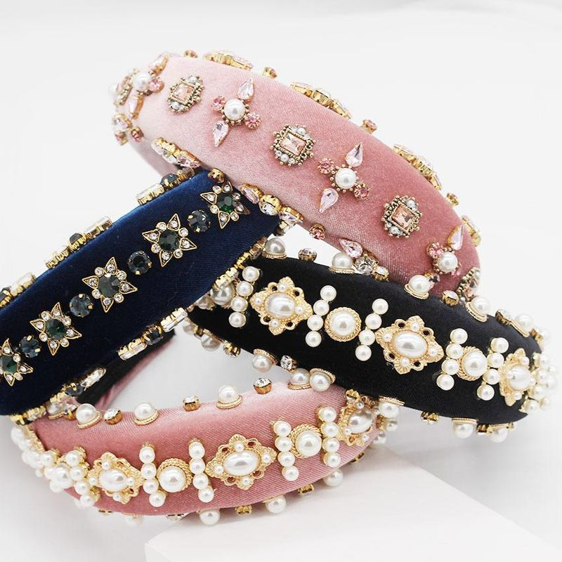 Foam pearl geometric rhinestone headband NHWJ153072