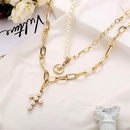 Creative vintage inlay faux pearl sweater chain necklace NHPJ152926