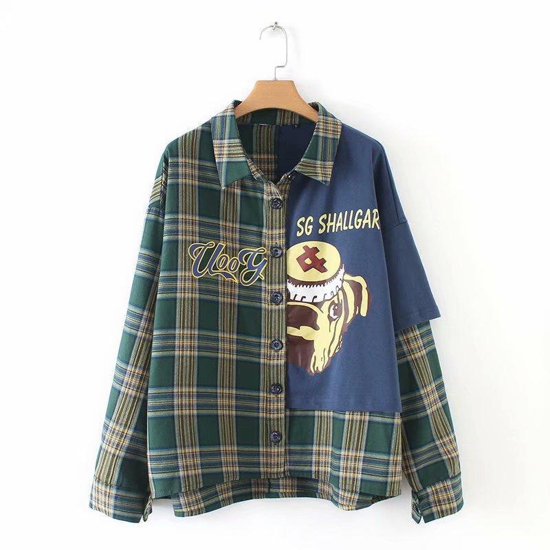 Cartoon character print stitching blouse NHAM153101
