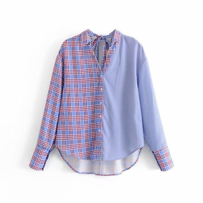 Contrast plaid stitching striped open blouse NHAM153117