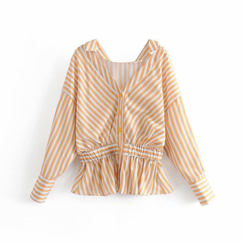Yellow striped waist elastic design blouse NHAM153123