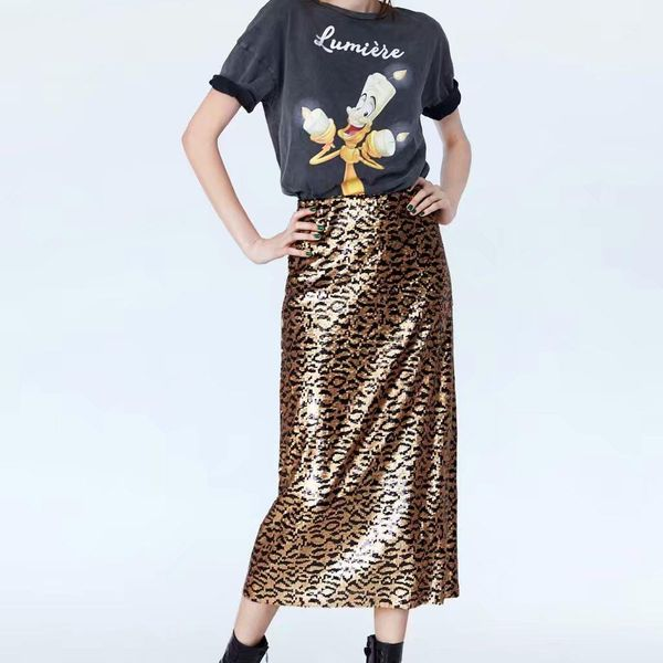 Fashion winter sequins printed knit skirt NHAM153135