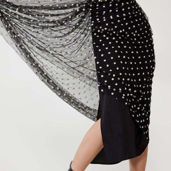 Autumn embroidery  mesh dress NHAM153156