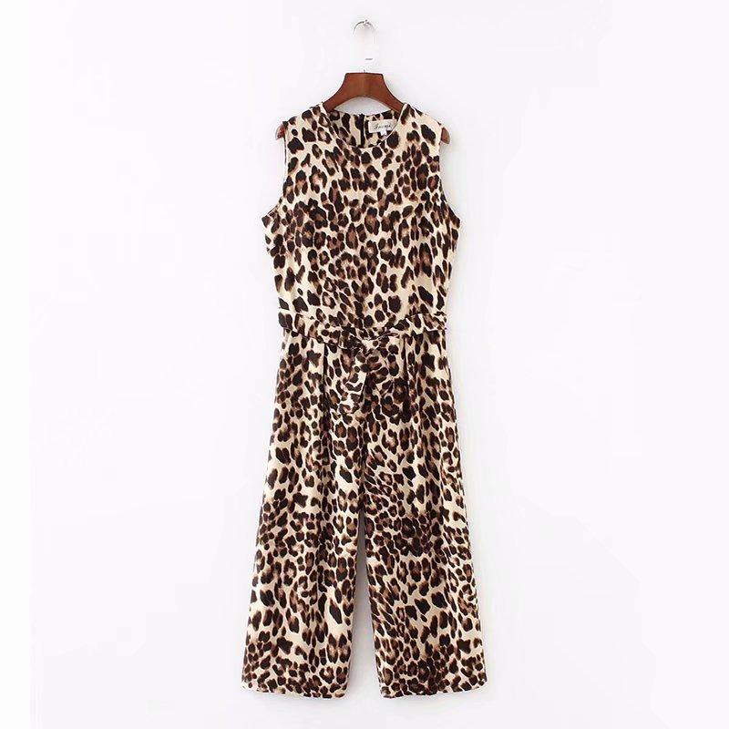 Autumn sleeveless leopard jumpsuit casual pants NHAM153173