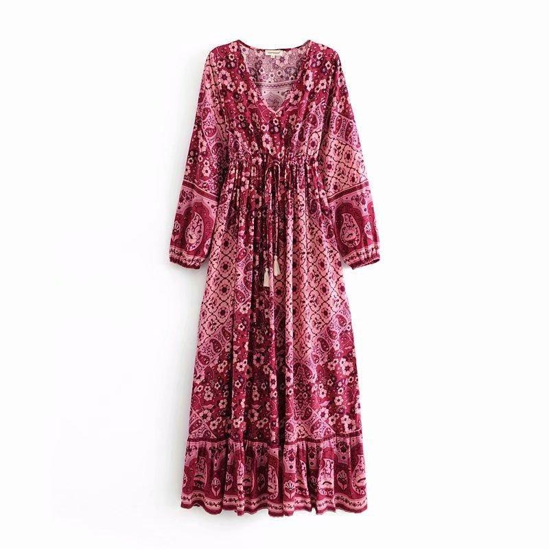 Autumn Morning Glory Positioning V-neck Side Split Dress NHAM153217
