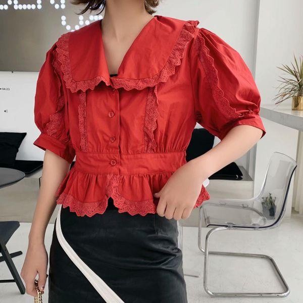 Vintage Navy Collar Lace Trim Short Sleeve Shirt NHAM153228