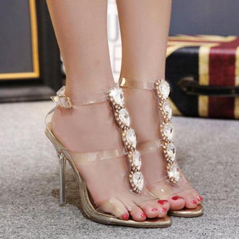 Cristal sexy de piedras preciosas con sandalias de tacón alto de diamantes de imitación transparentes NHSO153233's discount tags