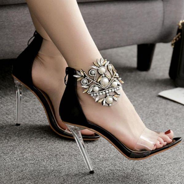 Sandalias de tacón alto con lentejuelas y perlas de flores NHSO153236