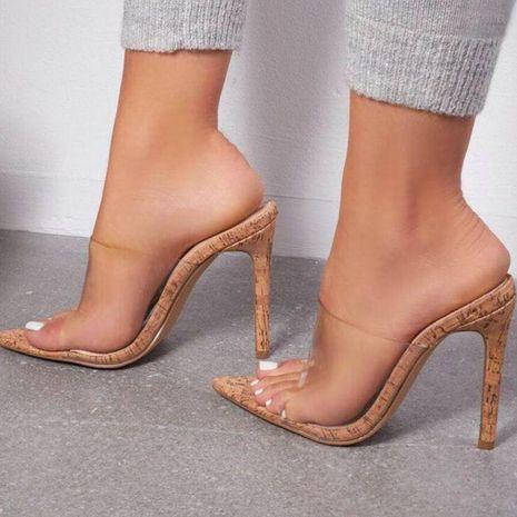 Sandalias y zapatillas de tacón alto transparentes puntiagudas simples y versátiles NHSO153246's discount tags