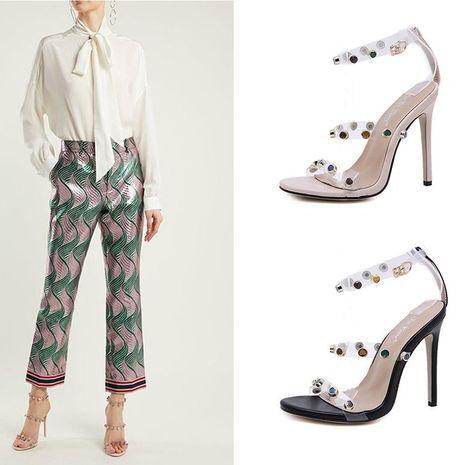 Sandalias de tacón de aguja de diamantes de imitación de color de moda NHSO153259's discount tags