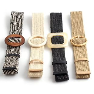 New PP grass weave elastic buckle belt NHPO153272's discount tags