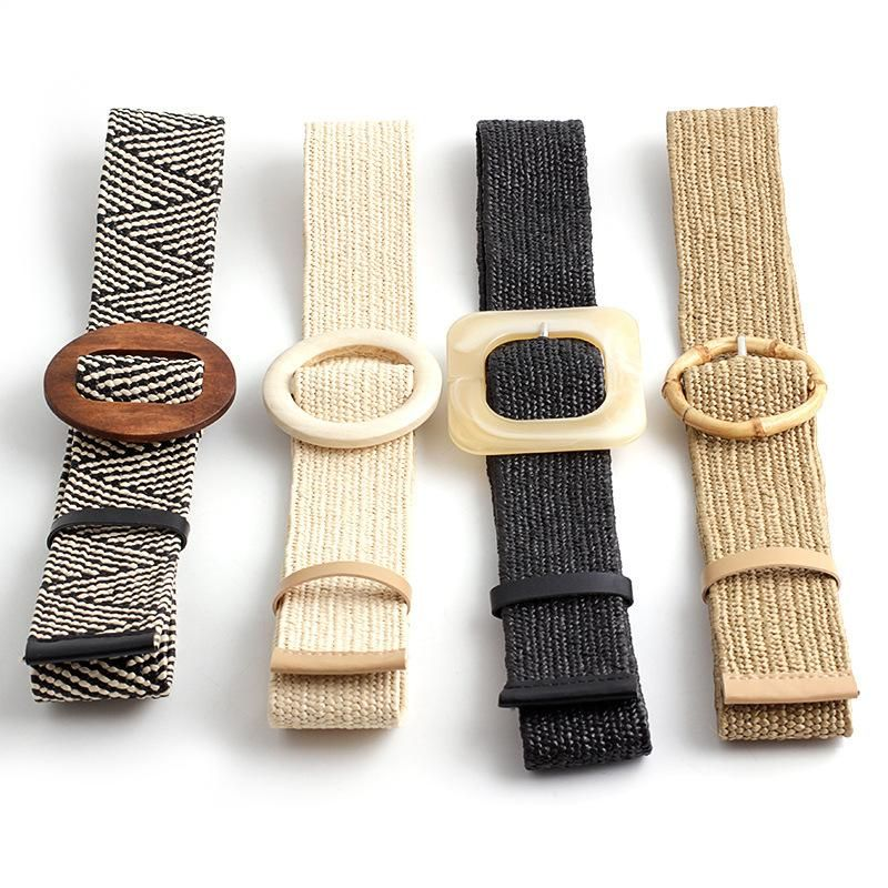New PP grass weave elastic buckle belt NHPO153272
