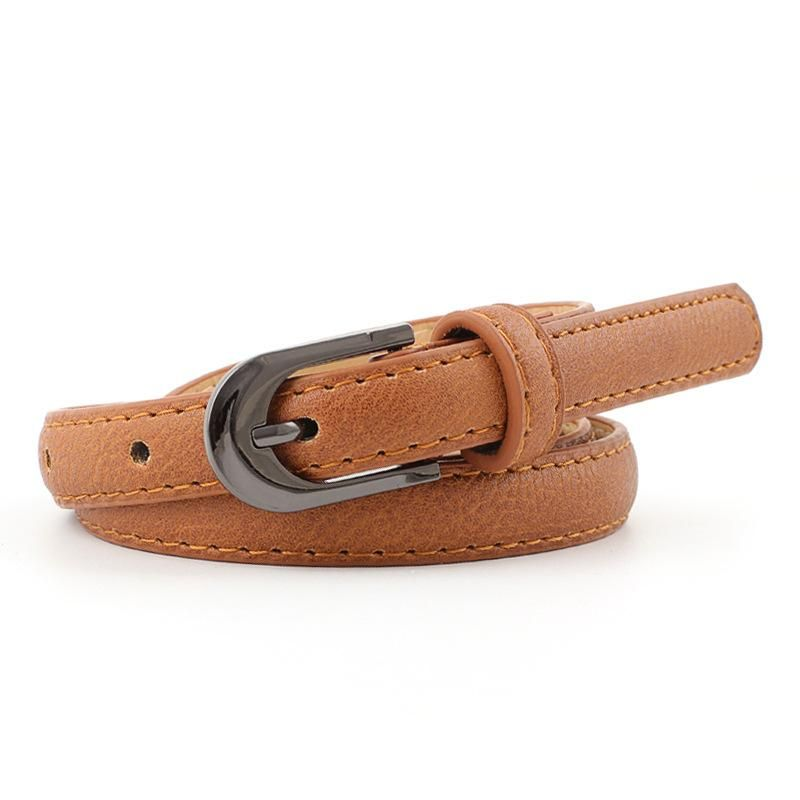 New solid color black buckle thin belt NHPO153275