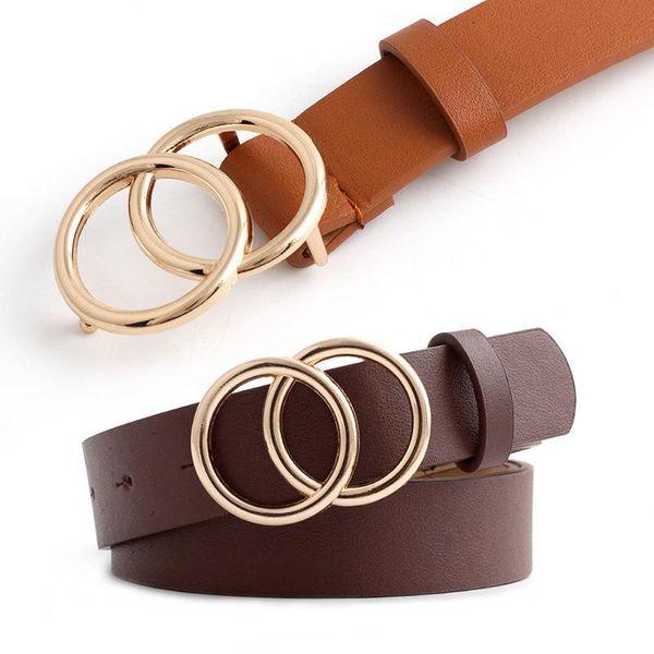 Fashion double round buckle retro PU belt NHPO153276