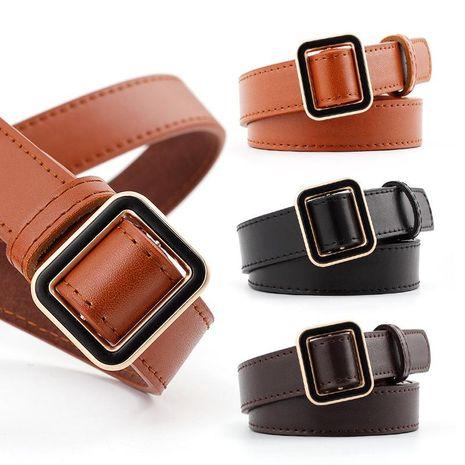 Cinturones de mujer con hebilla metálica cuadrada de color sólido de moda NHPO153277's discount tags