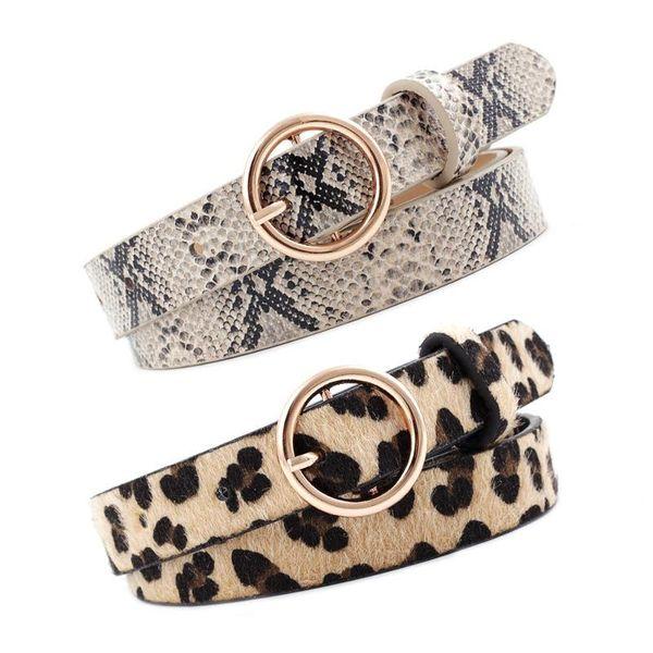 Fashion round button leopard snake tattoo slim belt NHPO153279