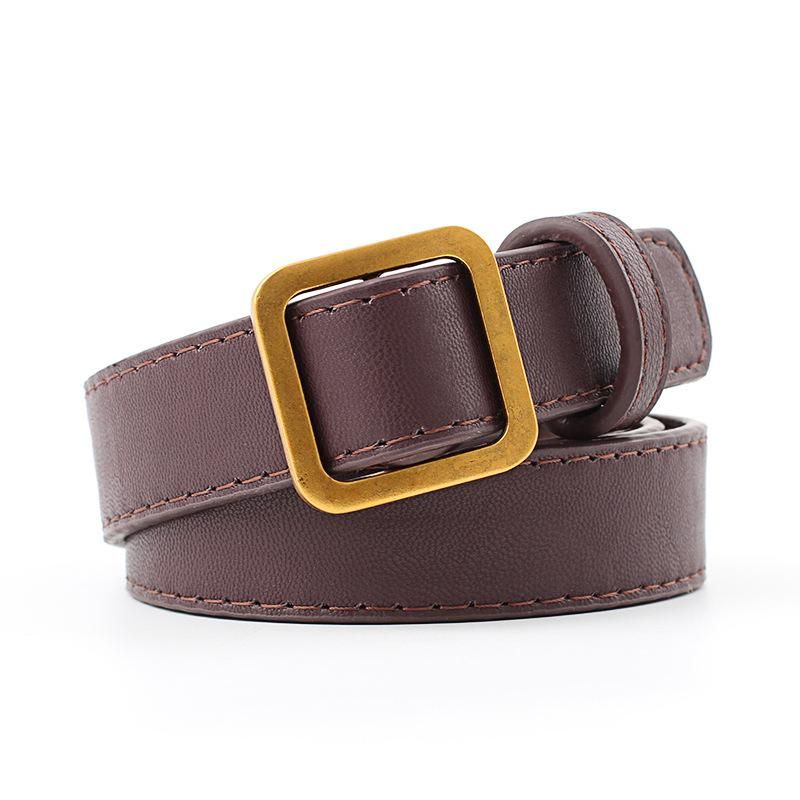 New ancient gold square buckle non-porous retro women belt NHPO153280