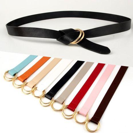Nuevo doble anillo redondo hebilla PU cinturón de mujer NHPO153283's discount tags