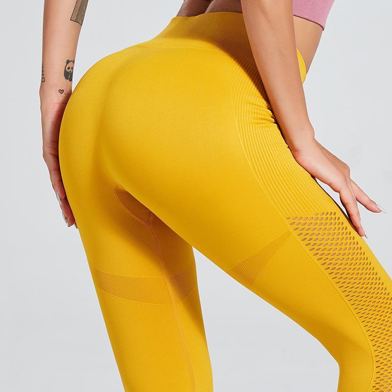 Dry seamless striped openwork fitness pants sports leggings NHMA153303