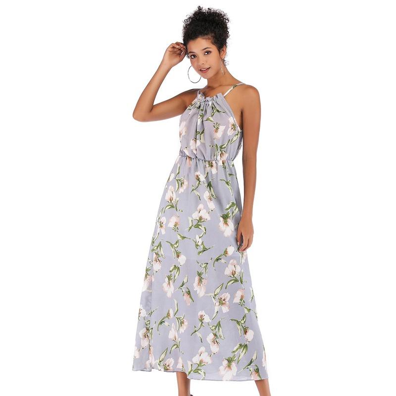 Fashion printed chiffon dress NHTK153323