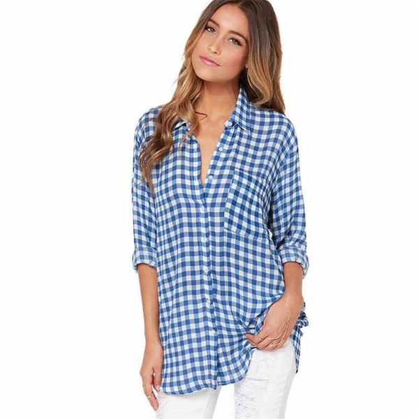 New long sleeve plaid blouses NHTK153335