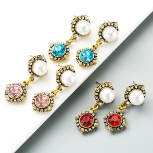 Simple flower personality rhinestone alloy earrings NHLN153378's discount tags